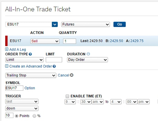 Screen shot of the All-in-One Trade Ticket on StreetSmart Central.