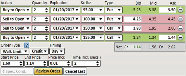Screenshot of Walk Limit options trading feature