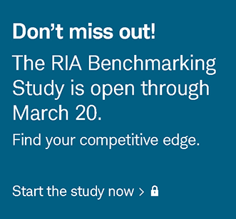 Don't miss out! The RIA Benchmarking Study is open through March 20. Find your competitive edge. Start the study now. Login required.