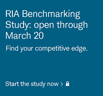 RIA Benchmarking Study: open through March 20. Find your competitive edge. Start the study now. Login required.