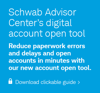 Schwab Advisor Center's digital account open tool. Reduce paperwork errors and delays and open accounts in minutes with our new account open tool. Login and download clickable guide.