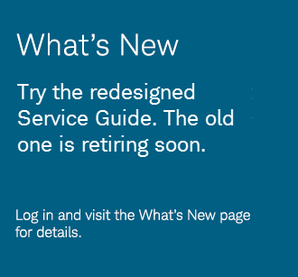 Try the redesigned Service Guide. The old one is retiring soon.