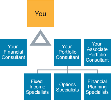 Graphic showing the relationship of you to your financial consultant and portfolio consultant team