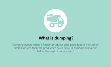 What is dumping? Dumping occurs when a foreign producer sells a product in the United States for less than the producer's sales price in its home market or below the cost of production.