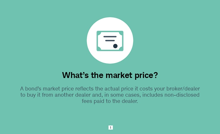 What's the market price? A bond's market price reflects the actual price it costs your broker/dealer to buy it from another dealer and, in some cases, includes non-disclosed fees paid to the dealer.