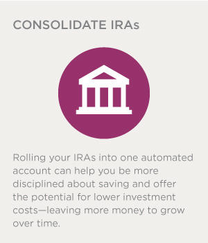 Rolling your IRAs into one automated account can help you be more disciplined about saving and offer the potential for lower investment costs--leaving more money to grow over time.