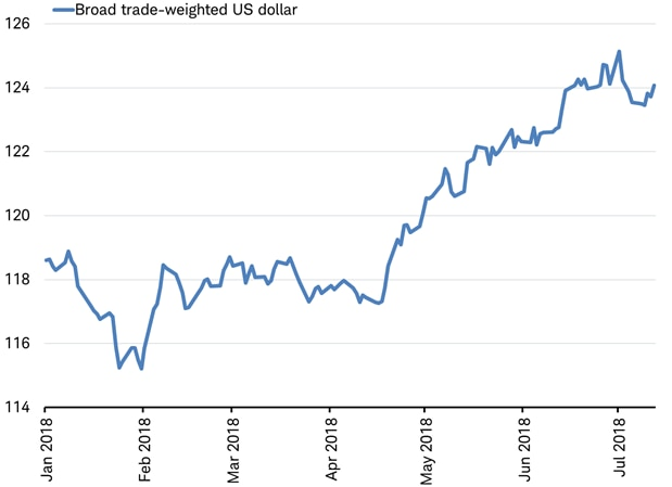 trade-weighted US dollar