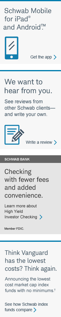 Schwab Bank: Checking with fewer fees and added convenience. Learn more about High Yield Investor Checking.